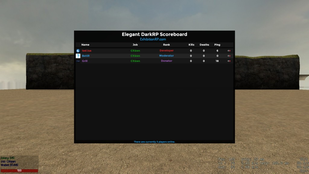 Elegant DarkRP Scoreboard by ted lua | garrysmods org
